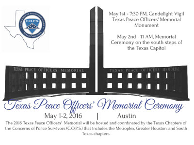 Texas Peace Officers' Memorial Ceremony - 2016